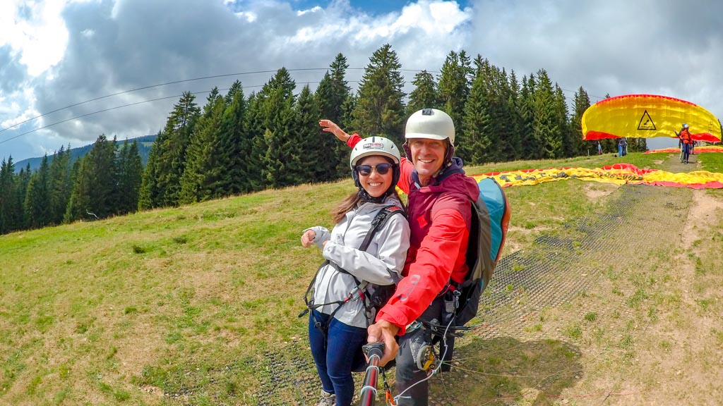 just before takeoff paragliding interlaken Switzerland - laugh travel eat