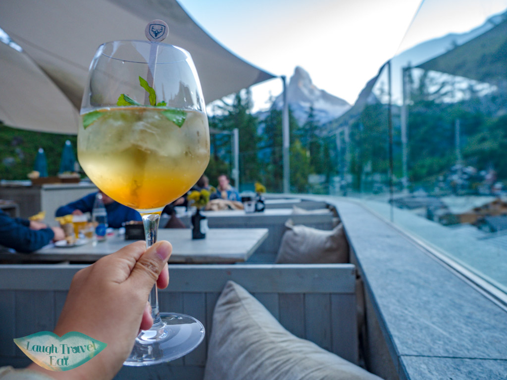 negroni aperitif Cervo Puro Restaurant Zermatt Switzerland - laugh travel eat