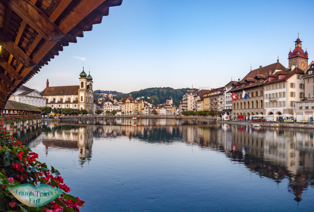 northern end of chapel bridge lucerne switzerland - laugh travel eat