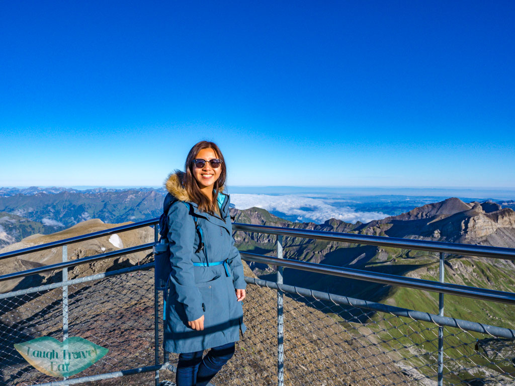 on top of Schilthorn Lauterbrunnen Switzerland - laugh travel eat