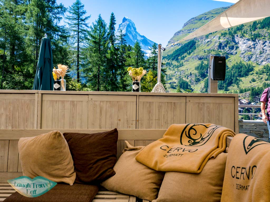 outdoor terrace Cervo Puro Zermatt Switzerland - laugh travel eat