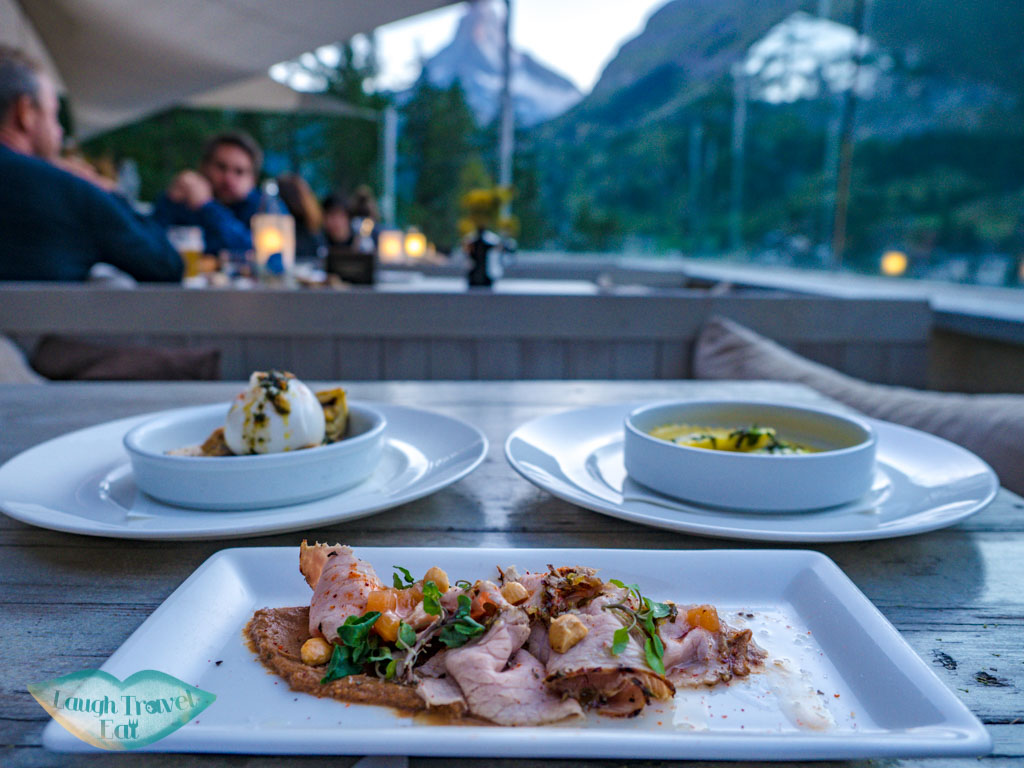 starter selection Cervo Puro Restaurant Zermatt Switzerland - laugh travel eat