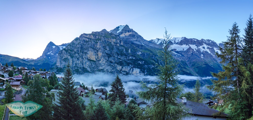 sunrise at Murren switzerland - laugh travel eat
