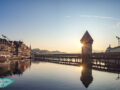 sunset Chapel bridge lucerne switzerland - laugh travel eat