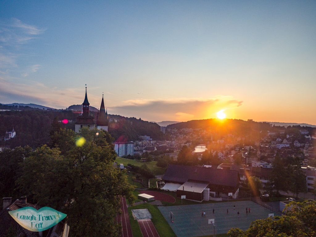 sunset at The Musegg Wall and Towers lucerne switzerland - laugh travel eat