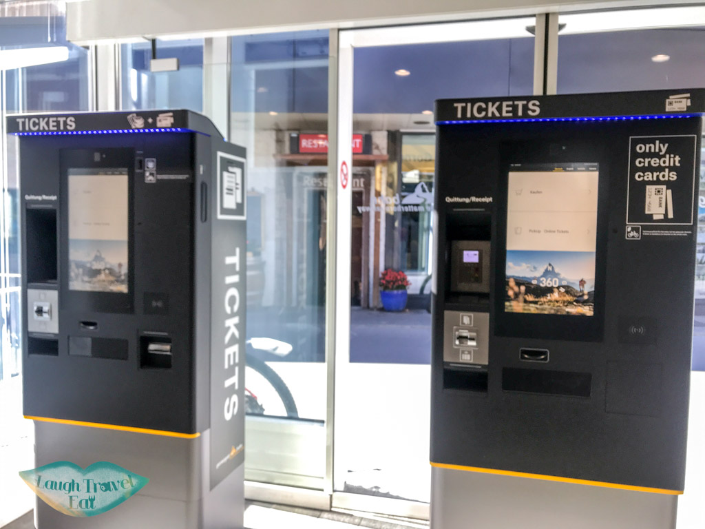 ticket machine for gornergrat Switzerland - laugh travel eat