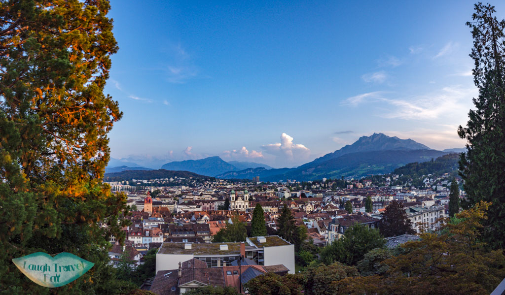 view of city from the Musegg Wall and Towers lucerne switzerland - laugh travel eat