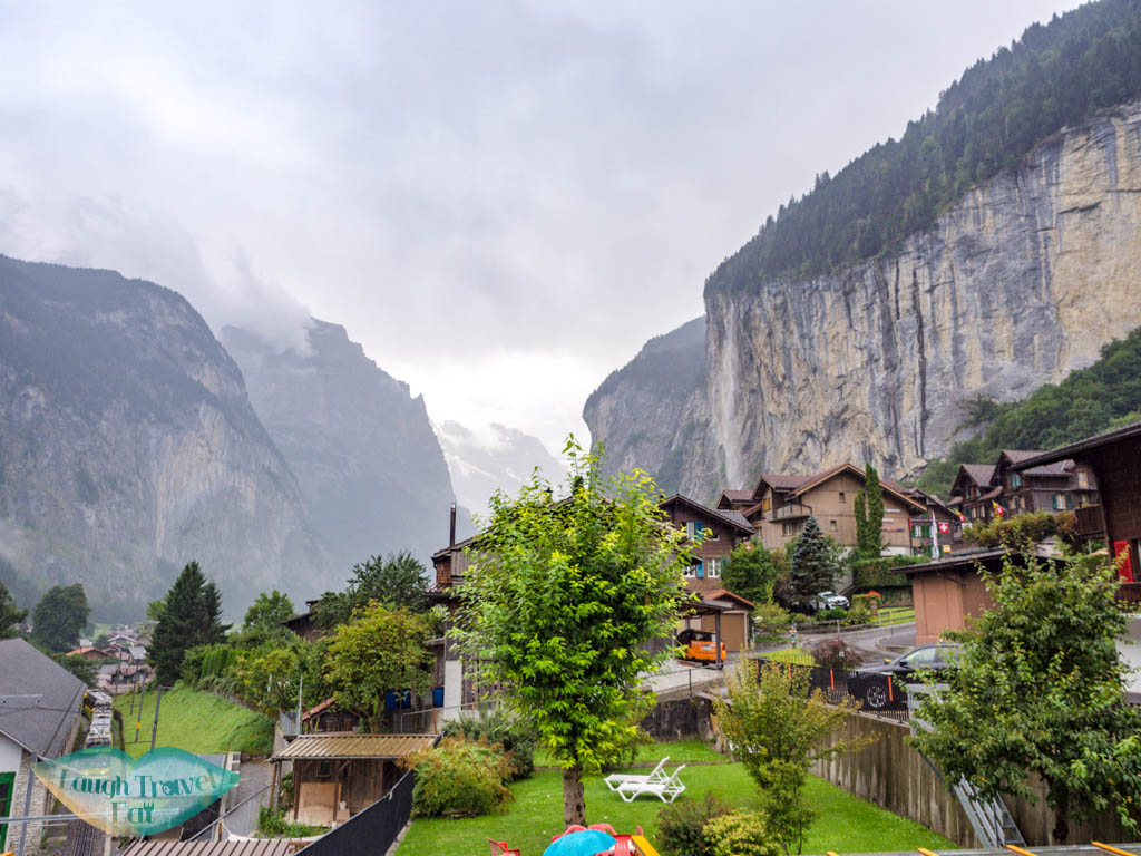 view of lauterbrunnen from valley hostel switzerland - laugh travel eat