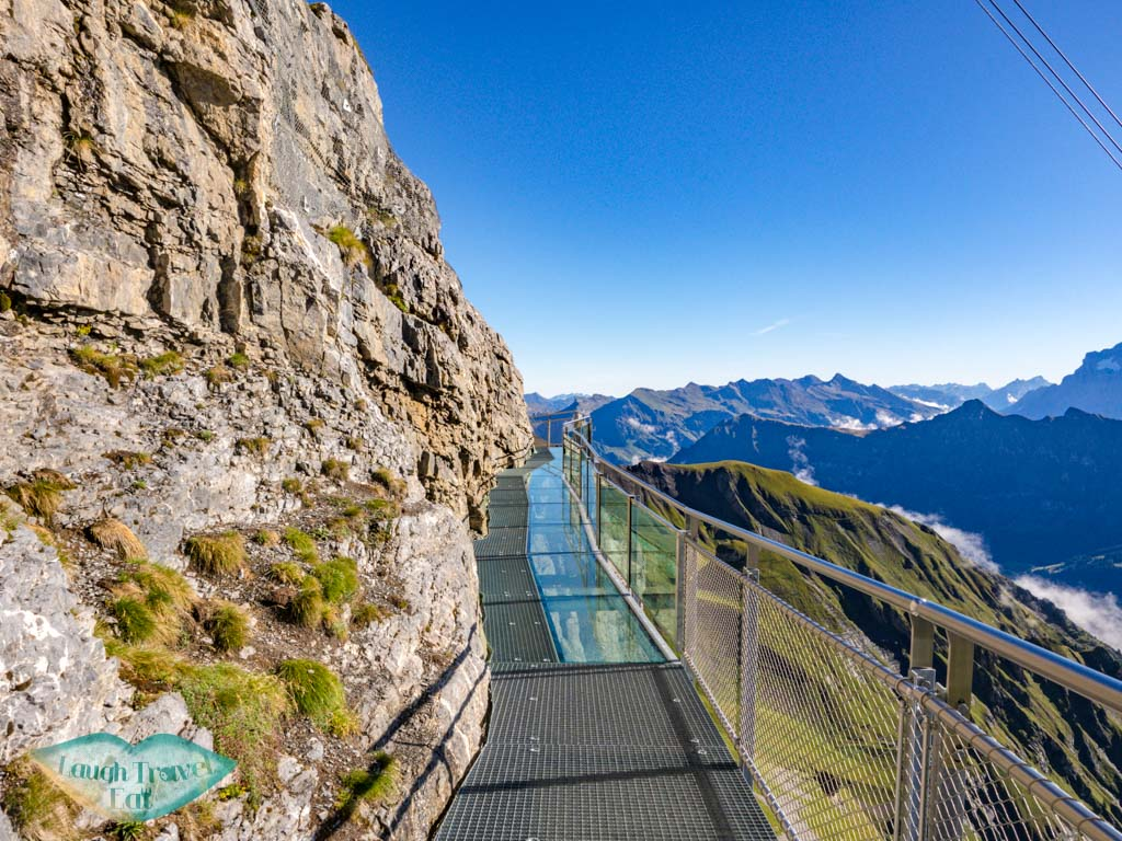 walking on thrill walk birg schilthorn switzerland - laugh travel eat