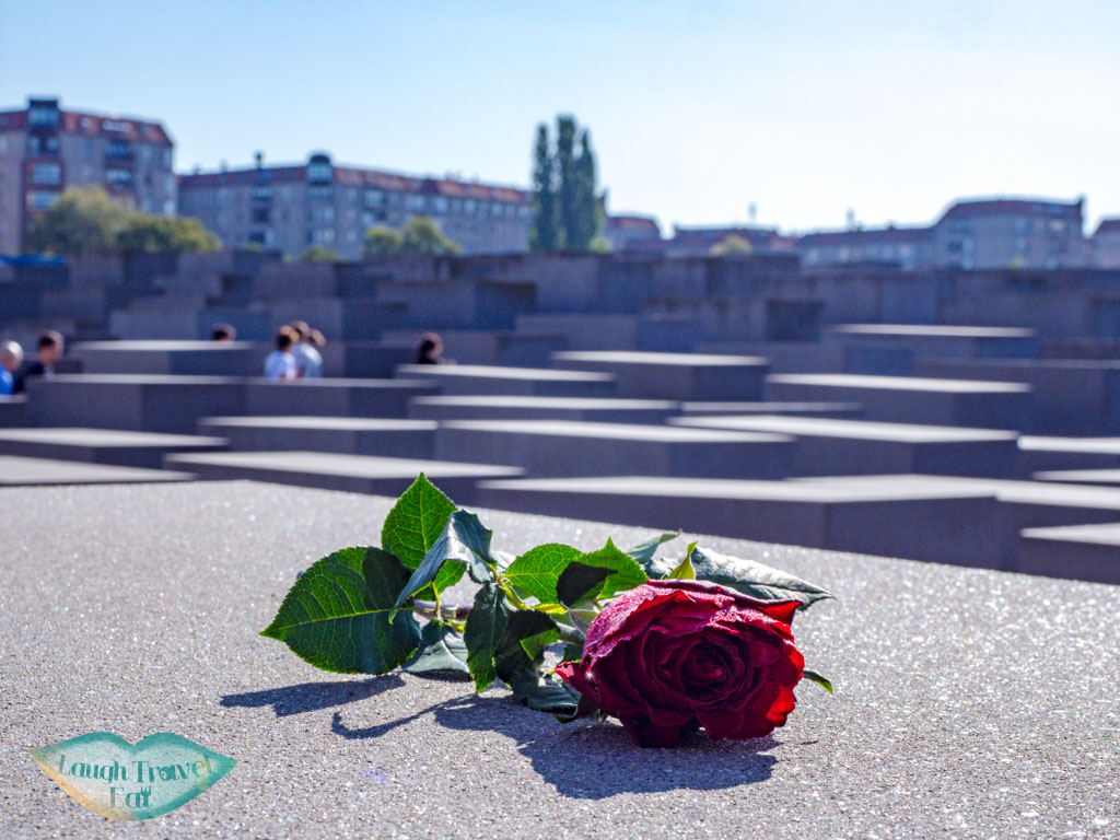 a rose on memorial to the murdered Jews berlin germany - laugh travel eat