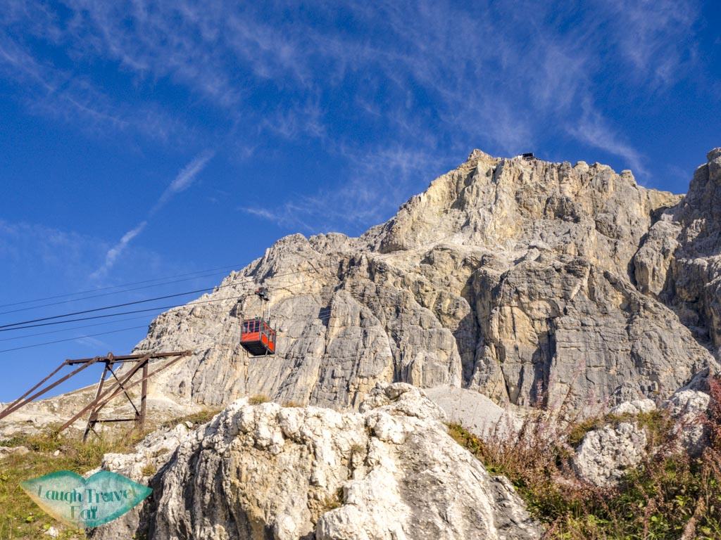 cable car up to lagazuoi cortina d'ampezzo italy - laugh travel eat