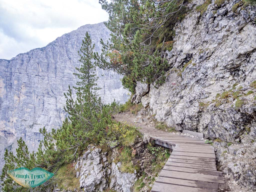 cliff-side walk section lake sorapis hike cortina d'ampezzo dolomites italy - laugh travel eat-7