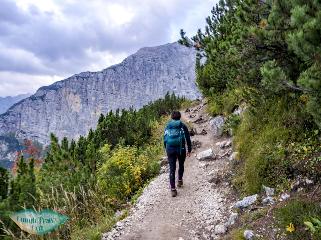 cliff-side walk section lake sorapis hike cortina d'ampezzo dolomites italy - laugh travel eat