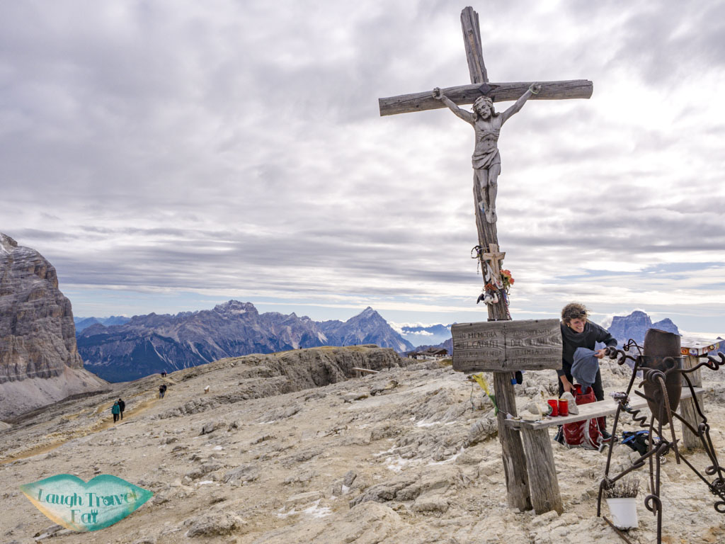 cross on austria troops way lagazuoi cortina d'ampezzo italy - laugh travel eat