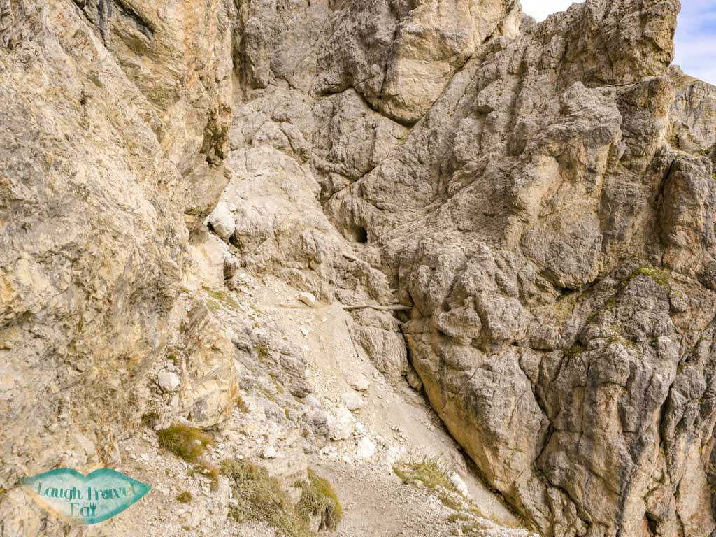 hiking up from lower entrance tunnel lagazuoi cortina d'ampezzo italy - laugh travel eat