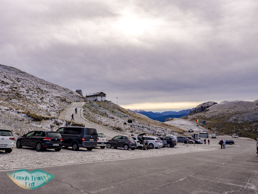 car park to rifugio and bathroom tre cime di lavorado dolomites italy - laugh travel eat