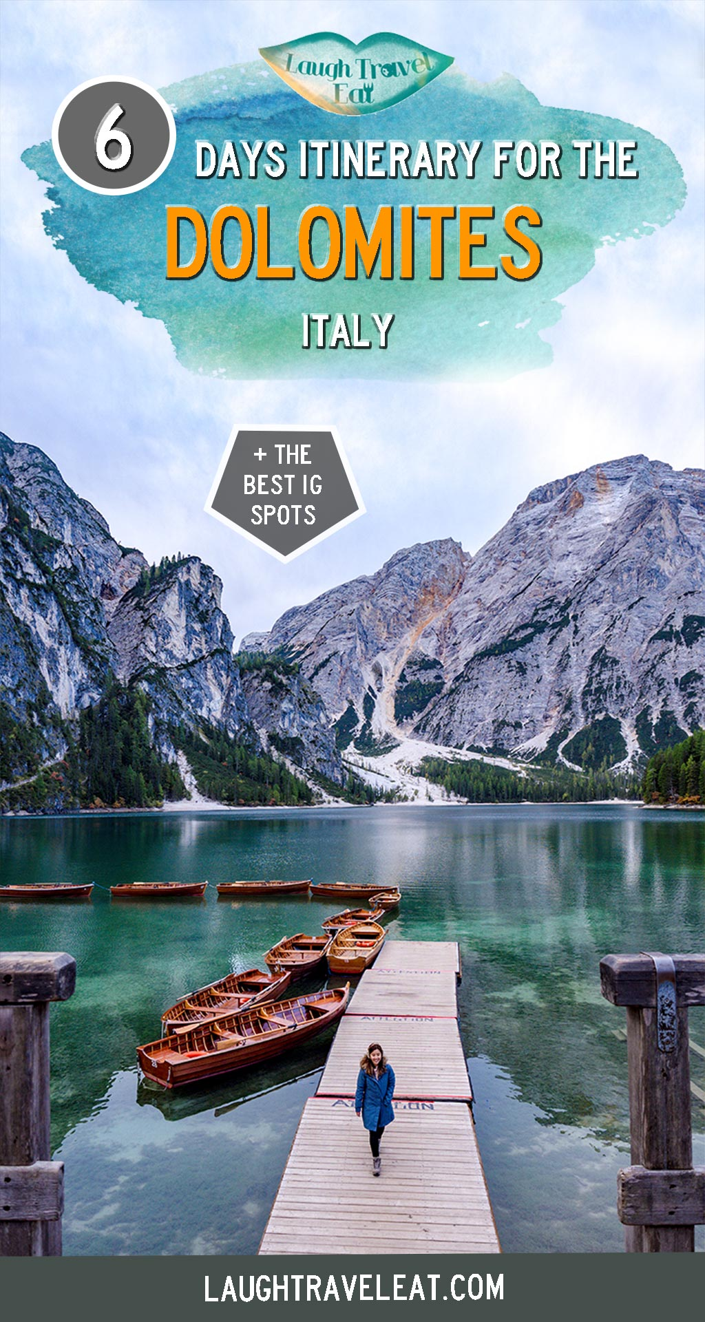 The Dolomite in northern Italy is a hiker's paradise with its jagged mountain and stunning lakes. However, it is a massive area and that makes it fairly difficult to decide where to go and what to see.  If you like hiking and photography, here's a perfect 6 day itinerary for you, starting and ending in Venice #dolomite #italy #hiking
