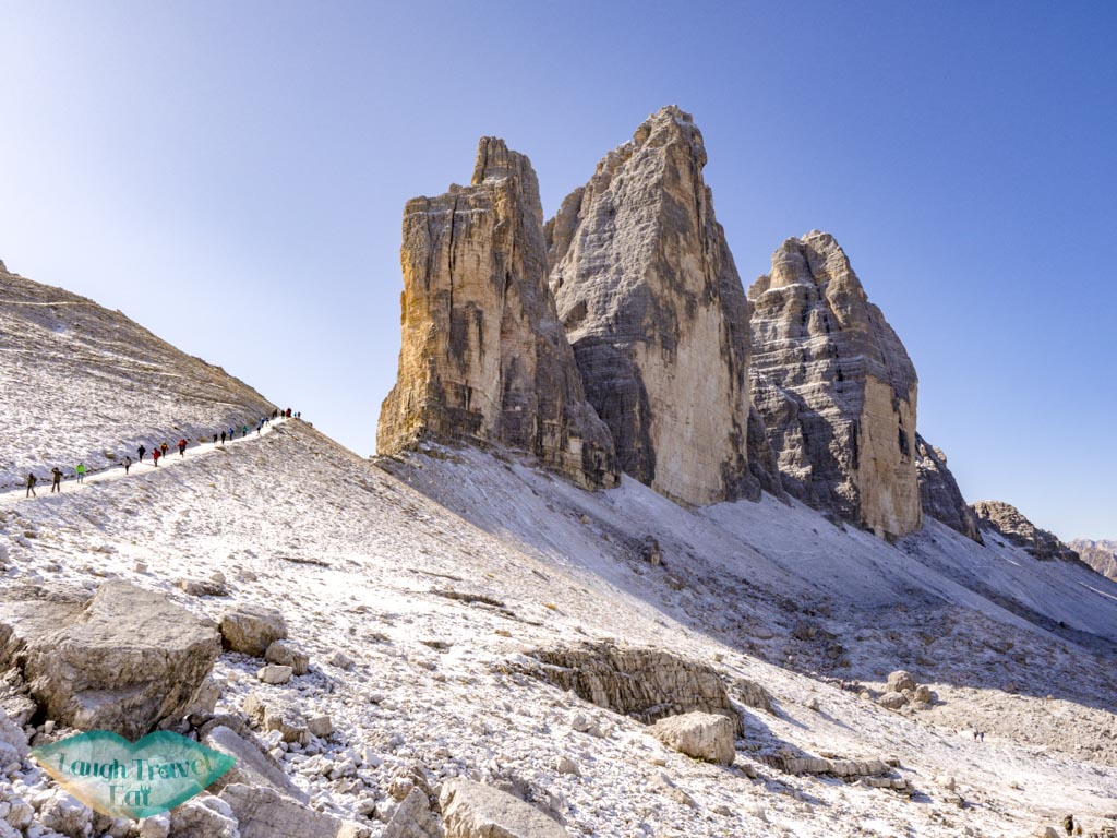 going down tre cime di lavorado dolomites italy - laugh travel eat