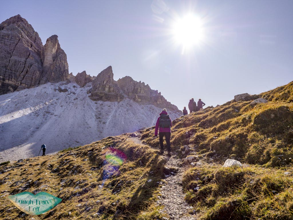 going up third stretch tre cime di lavorado dolomites italy - laugh travel eat