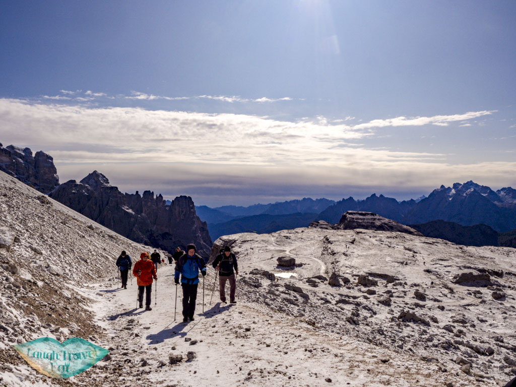 going up to split but looking back tre cime di lavorado dolomites italy - laugh travel eat