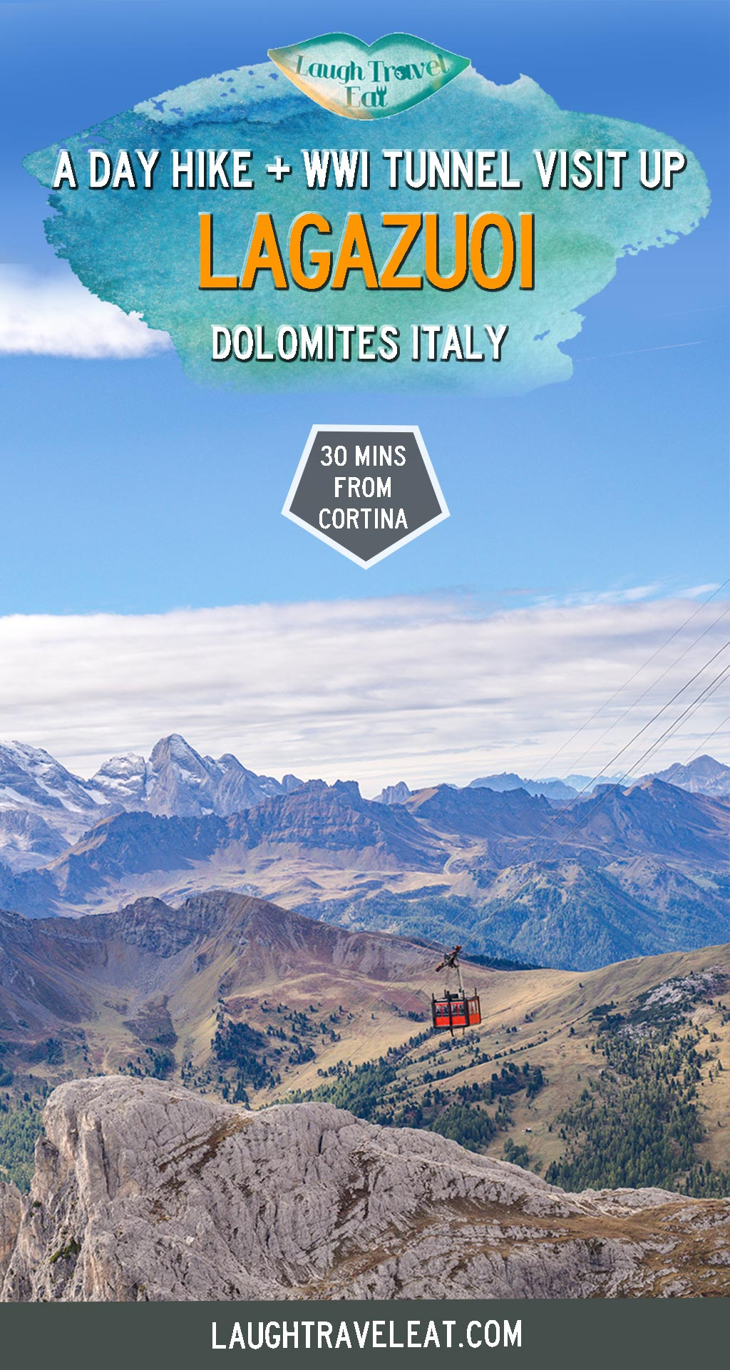 The Lagazuoi is one of the best day hikes from Cortina d'Ampezzo in the Italian Dolomites. While the view is undeniably spectacular, it is more famous for its historical significance during WWI. Here's how to do a day hike there: #dolomite #italy #lagazuoi #hike