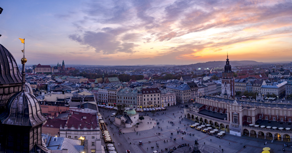 panoramic view from tower st mary's bascilica krakow poland - laugh travel eat