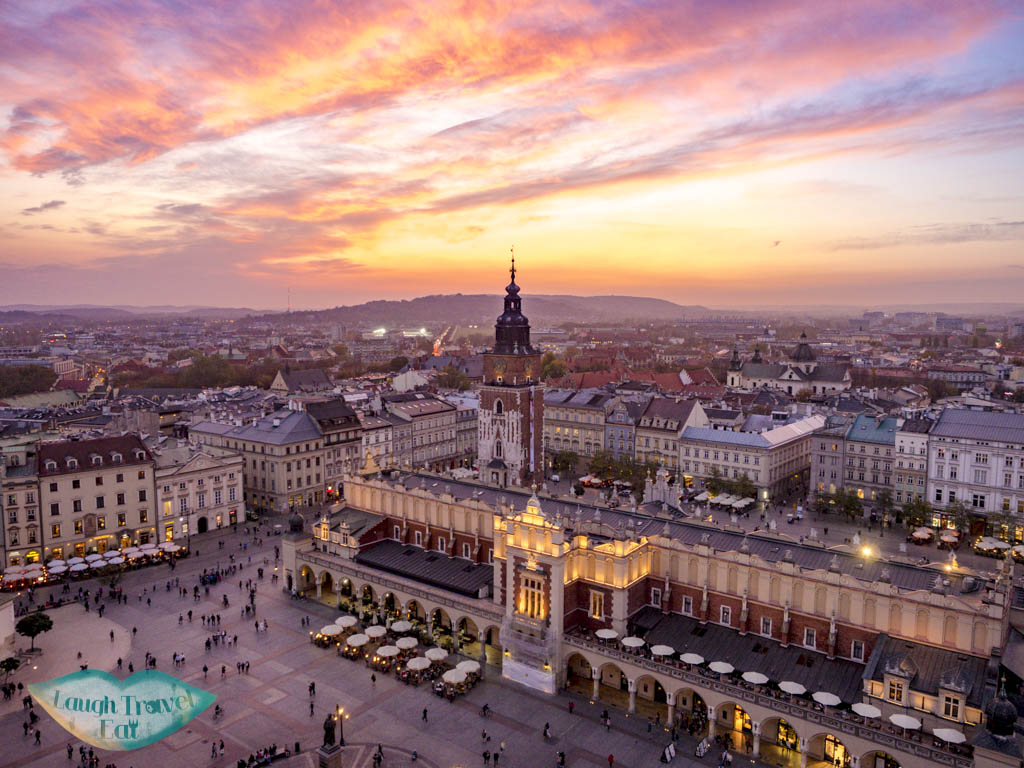 sunset view from st mary bascilica of cloth hall krakow poland - laugh travel eat