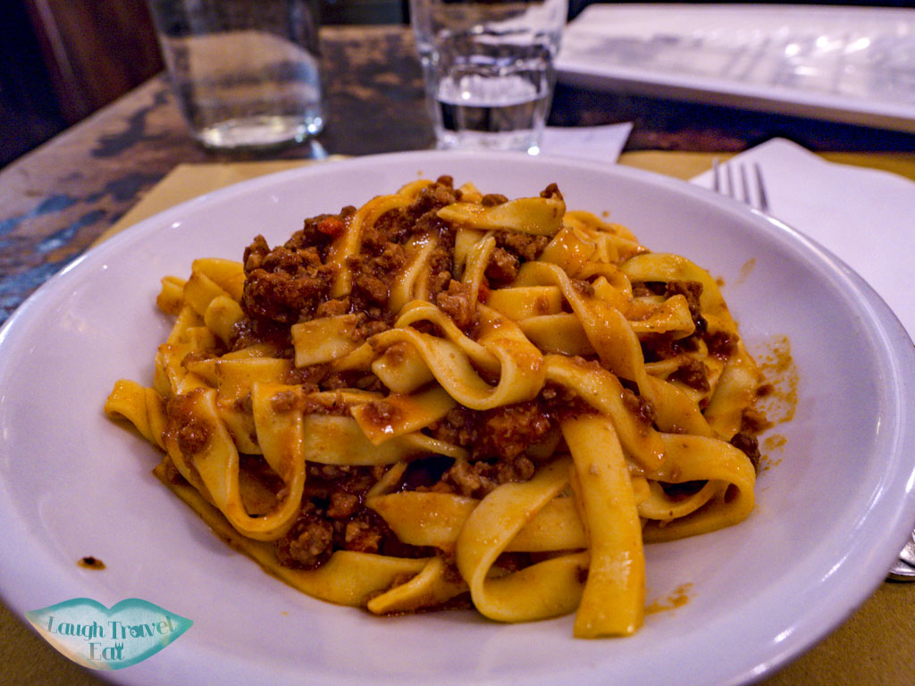 tagliatelle ragu osteria dell'orsa bologna italy - laugh travel eat