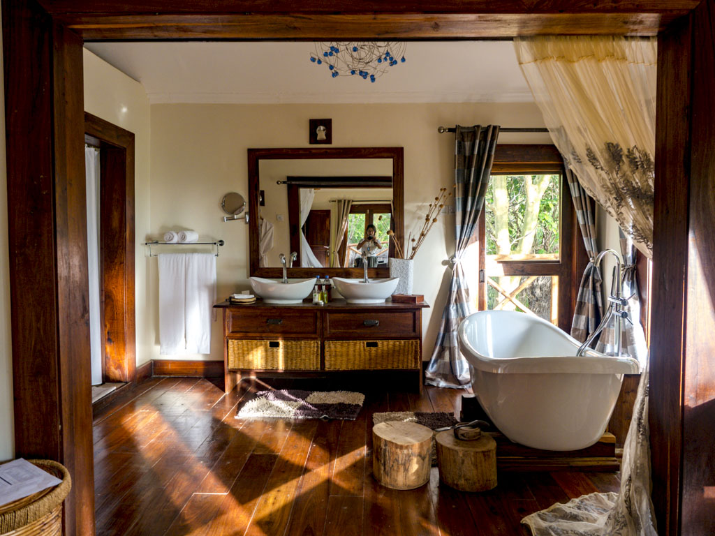 bathroom in escarpment luxury lodge tanzania africa - laugh travel eat
