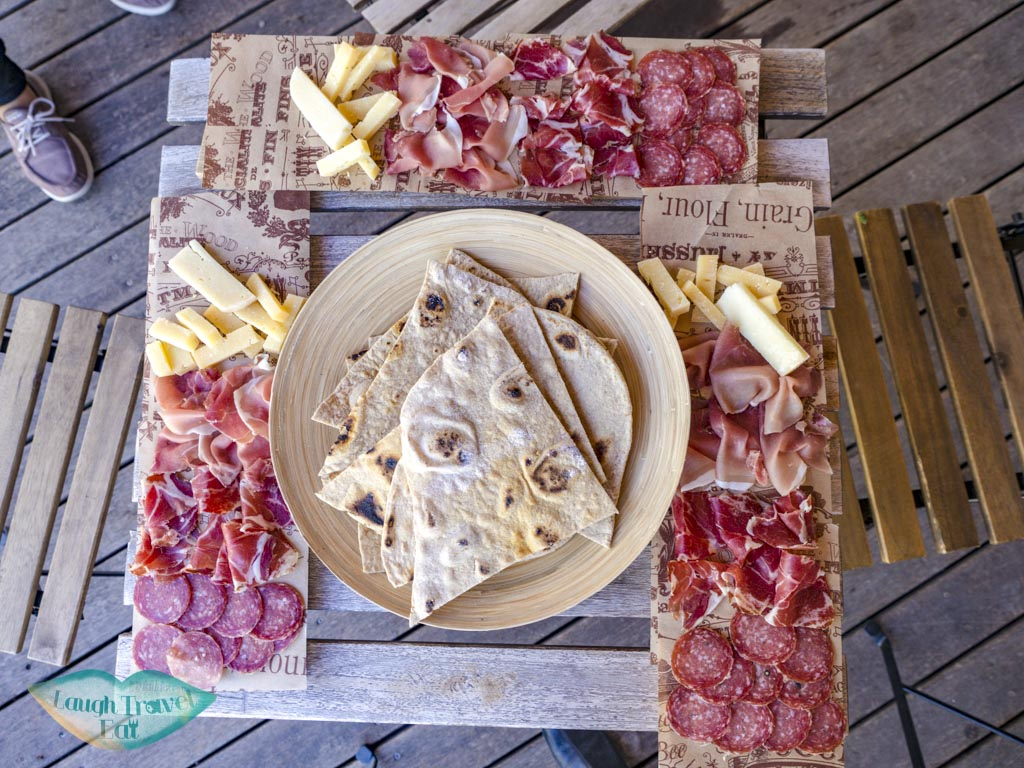 platter with piadina Podere Lesignano san marino italy - laugh travel eat