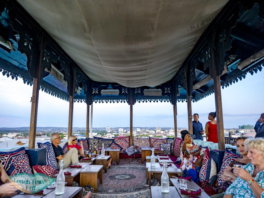 rooftop floor seating emerson on hurumzi stone town zanzibar - laugh travel eat