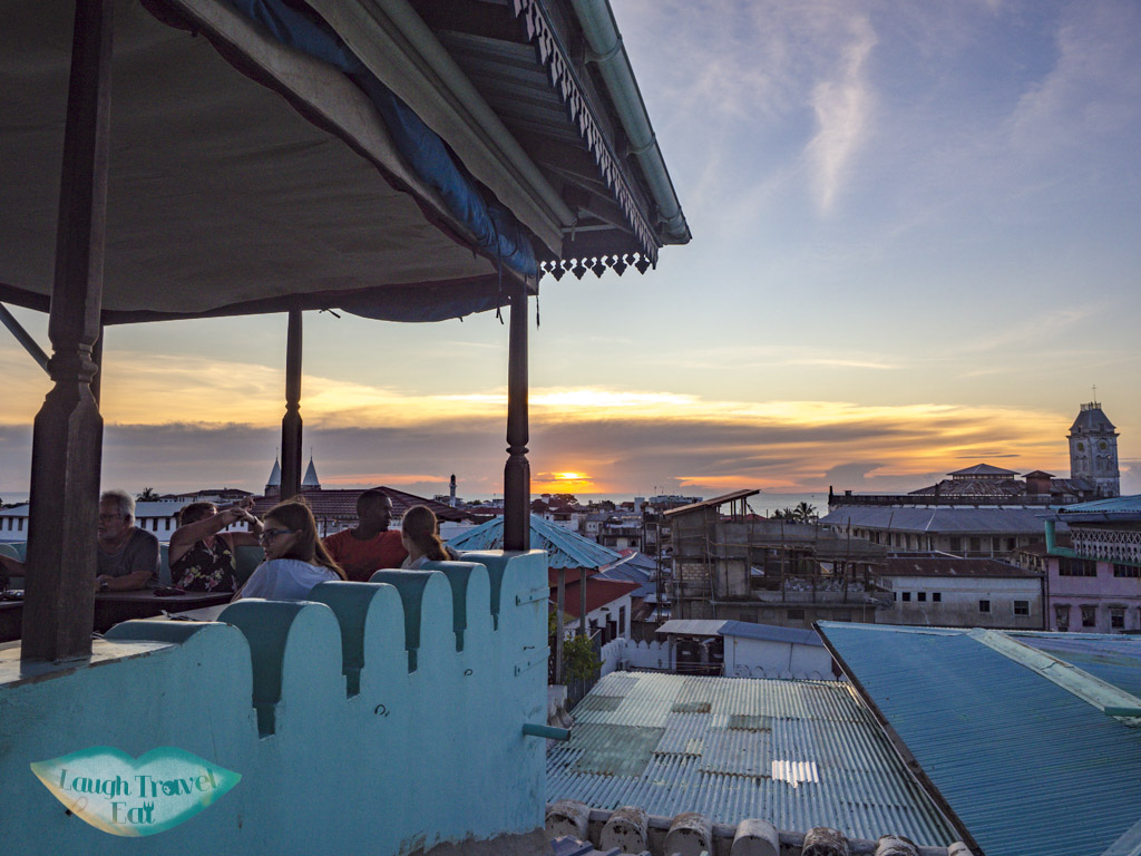 rooftop sunset emerson on hurumzi stone town zanzibar - laugh travel eat