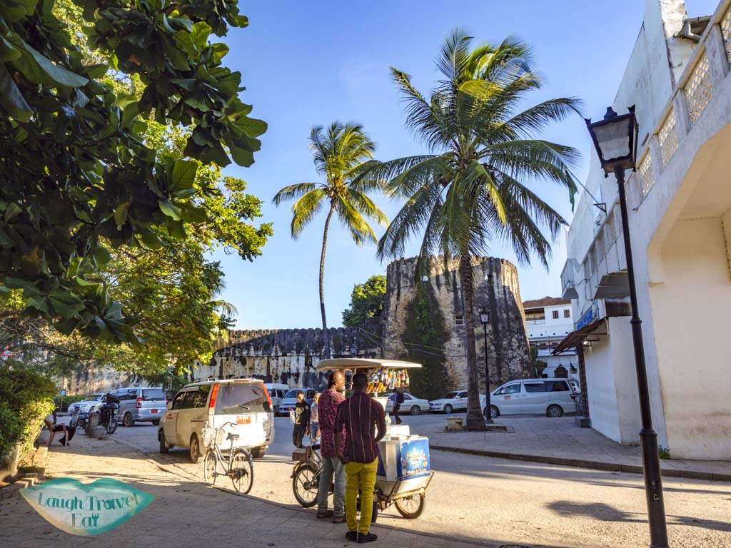 vendors and old fort stone town zanzibar - laugh travel eat