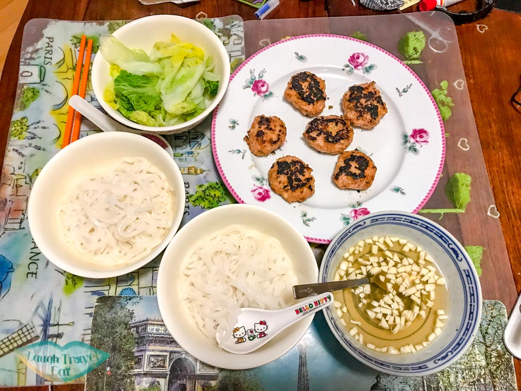 bun cha vietnamese food recipe - laugh travel eat
