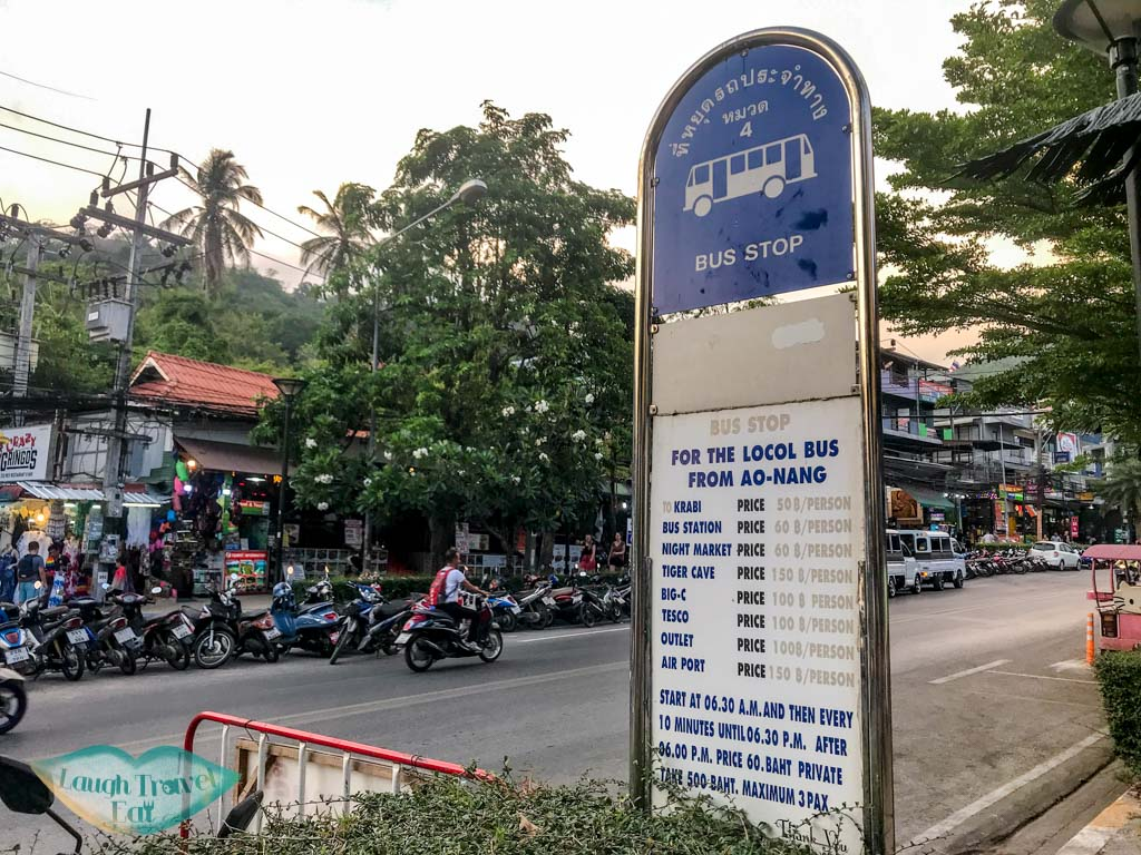 bus stop ao nang krabi thailand - laugh travel eat