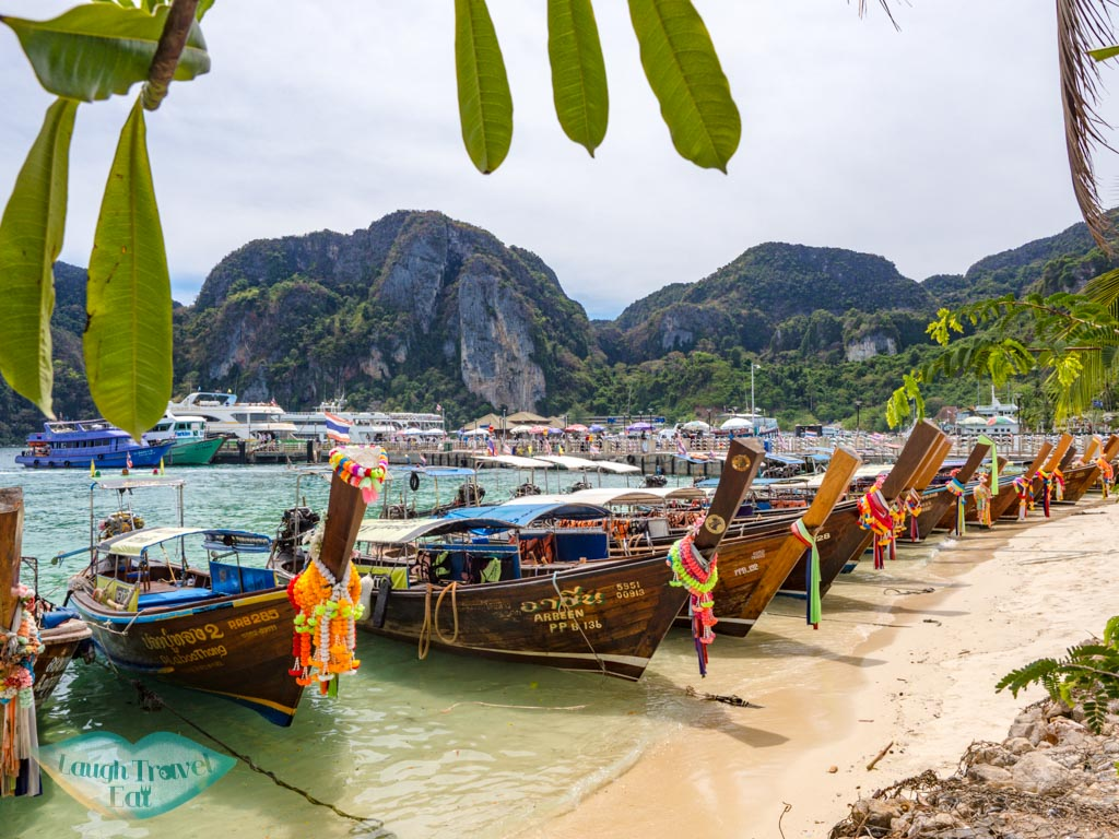 main pier and beach koh phi phi thailand - laugh travel eat