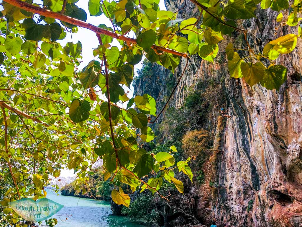 rock climbing railay east krabi thailand - laugh travel eat