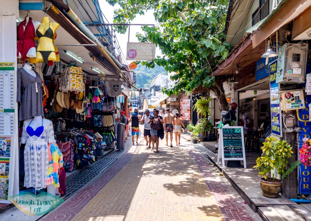 streets of tonsai koh phi phi thailand - laugh travel eat