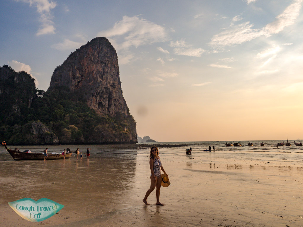 sunset at railay beach krabi Thailand - laugh travel eat