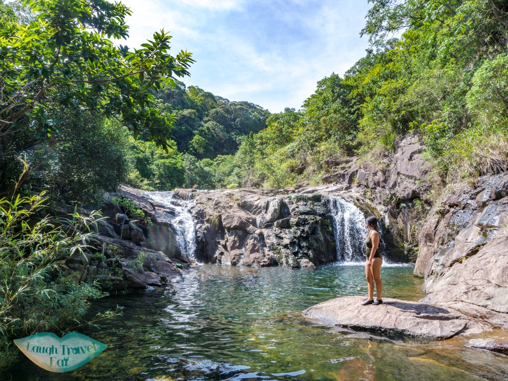 last big double waterfalls wang hung stream hong kong - laugh travel eat