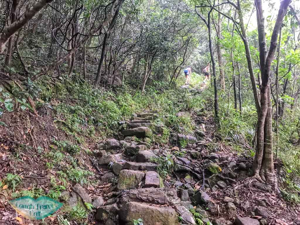 getting out from dragon waterfall stream tai shing stream hong kong - laugh travel eat
