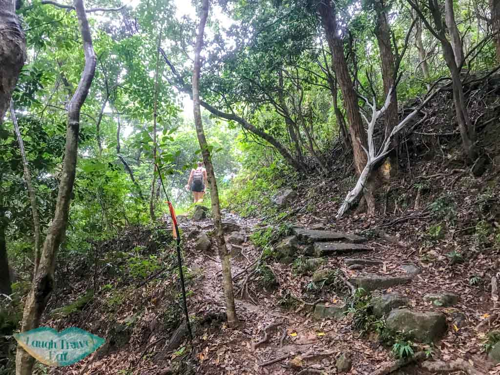 getting out from dragon waterfall stream tai shing stream hong kong - laugh travel eat-5