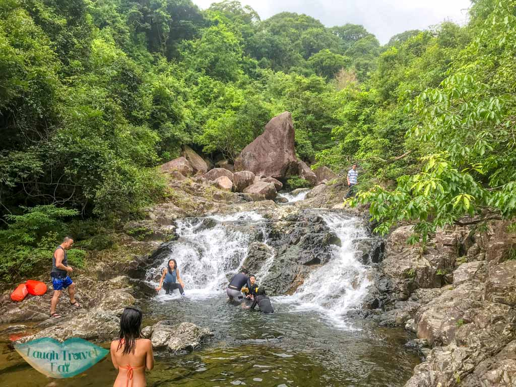 little bird rock up waterfalls at end of second stretch of tai shing stream hong kong - laugh travel eat