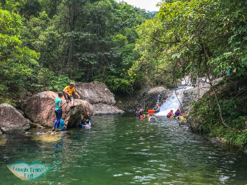 waterfalls at end of second stretch of tai shing stream hong kong - laugh travel eat