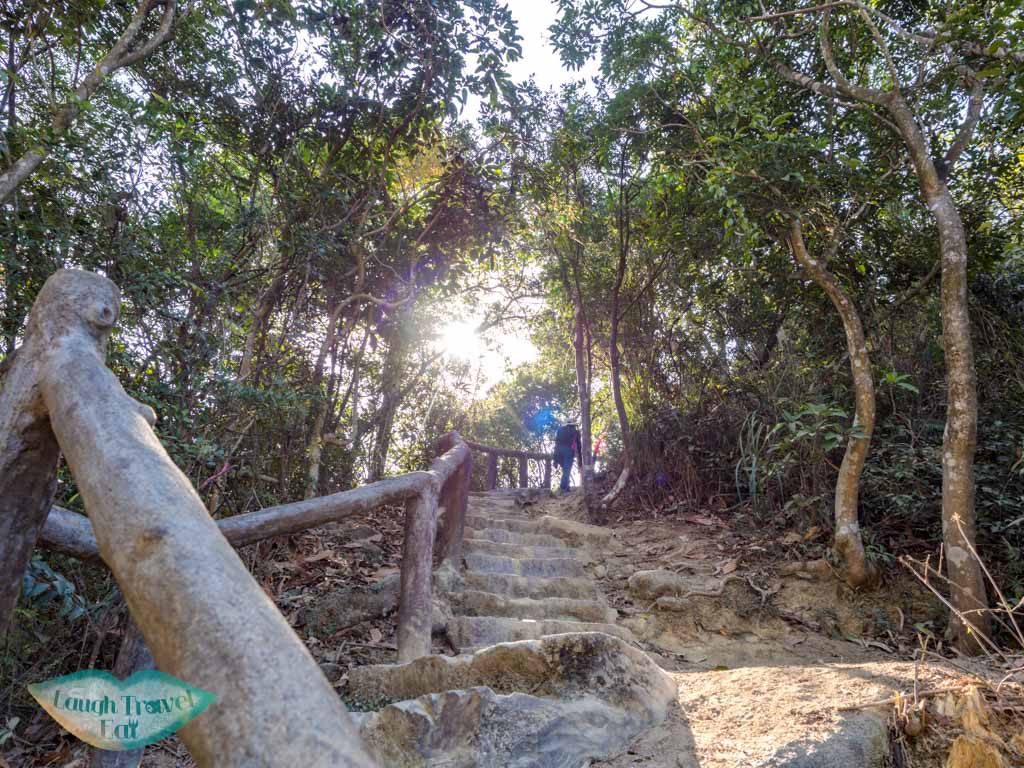 stairs to temple reservoir island viewpoint tai lam country park yuen long hong kong - laugh travel eat